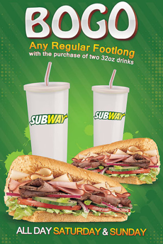 Subway Restaurant BOGO window cling design.