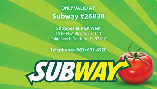 Subway Rewards Card Design and Printing