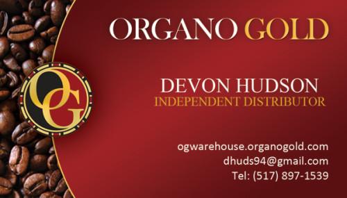 Organo Gold Business Card for Devon Hudson.
