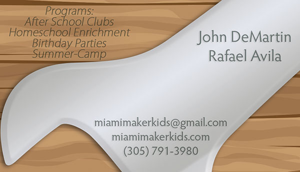 Miami maker kids business card back tight designs printing of maker kids movement business cards reheart Choice Image