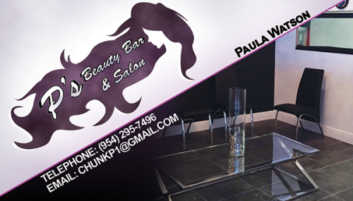 P's Beauty Bar & Salon in Miami Gardens business card.