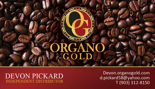 Organo Gold Business card for Independent Distributor Devon Pickard of Hawaii.