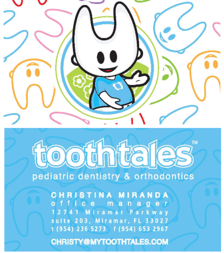 Tooth Tales Miramar business cards for pediatric dentistry & orthondontics.