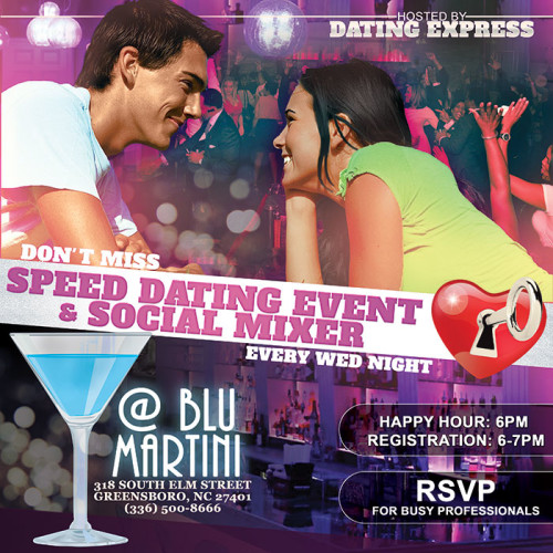 Blu Martini Greensboro NC Speed Date and Social Mixer event flyer design and print.
