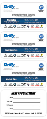 Thrifty Car Sales Auto Service Business Card design