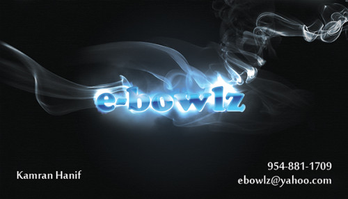 e-Bowlz electric hookah design for business card printing in Pembroke Pines.